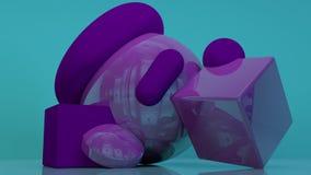Cubi il fondo porpora-viola astratto minimo 3d di forma bianca geometrica del podio Fotografie Stock Libere da Diritti