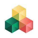 Cubi isometrici astratti per progettazione Immagine Stock