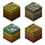 Cubi isometrici del blocchetto del gioco di colori, terra della natura e pietra senza fine su erba Fotografia Stock Libera da Diritti