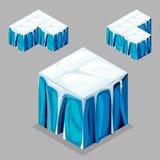 Cubi isometrici del blocchetto del gioco, ghiacciaio dell'iceberg Fotografie Stock Libere da Diritti