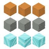 Cubi isometrici del mattone del gioco messi Fotografia Stock Libera da Diritti