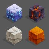 Cubi isometrici del mattone della natura del gioco messi Il cubo, la pietra ed il cubetto di ghiaccio della lava di vettore proge Fotografia Stock Libera da Diritti