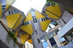 Cubi le case, insieme delle case innovarici a Rotterdam Immagine Stock