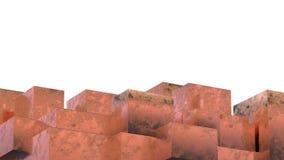 Cubi metallici arrugginiti astratti Fondo di lerciume illustrazione 3D Fotografie Stock Libere da Diritti