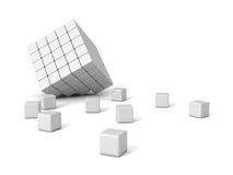 Cubi organizzati forma bianca rotta del blocco Fotografia Stock Libera da Diritti