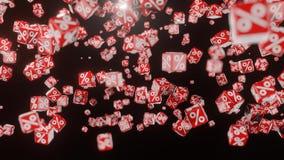 Cubi rossi di caduta con il segno di percentuali illustrazione di stock