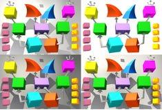Cubi variopinti con le frecce 3D illustrazione vettoriale