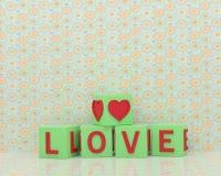 Cubi verdi della luce verde con l'amore di parola Fotografie Stock Libere da Diritti