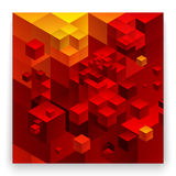 Cubic abstract background. Red background fantastic looking Royalty Free Stock Image