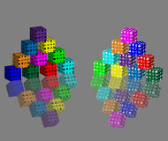 Cubic abstraction. Consisting of two pyramids of colored blocks and their reflections Royalty Free Stock Photos