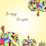 Cubic apple fruit  unique modern colorful vector postcard Royalty Free Stock Images