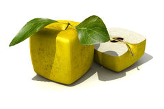 Cubic apples. 3D rendering of a cubic apple fruit and a half royalty free illustration