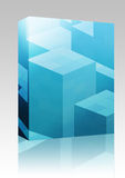 Cubic blocks box package. Software package box Abstract illustration wallpaper of geometric shape cubes Royalty Free Stock Photo