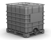 The cubic capacity (plastic container). Intermediate Bulk Container. Cubic container (plastic container for liquids) standing on the white surface. . The three Stock Photography