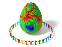 Cubic characters builded egg with random colored blocks. Stock Images