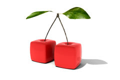 Cubic Cherries. 3D rendering of a pair of cubic cherries Stock Photography