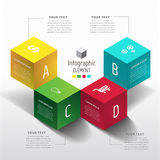 CUBIC 3D Modern design number 4 step template. 3D Modern design number 4 step template can used for banner,infographic,data,presentation timeline business,chart Stock Photography