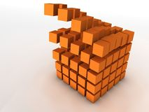 Olap information cube falling apart. A damaged block of cubes. Computer render Royalty Free Stock Photo