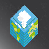 Cubic Earth in space Royalty Free Stock Images