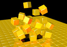 Cubic explosion. 3d rendering of gold cubes exploding Stock Photos