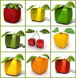 Cubic fruit collage. 3D rendering of a selection of cubic fruits Royalty Free Stock Photography