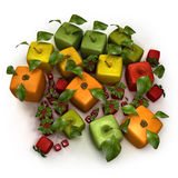 Cubic fruit composition. 3D rendering of a selection of cubic fruits Royalty Free Stock Images