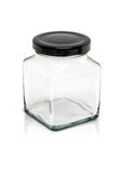 cubic glass bottle with black aluminum cap Stock Photos