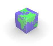 Cubic globe Earth cube square Royalty Free Stock Photos
