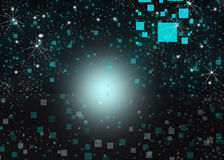 Cubic glow background blur effects. Blue glow  cubic  stars background texture Stock Image