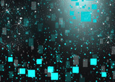 Cubic glow background blur effects. Blue glow  cubic  stars background texture Stock Photography
