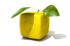Cubic golden apple. 3D rendering of a cubic golden apple Royalty Free Stock Photo