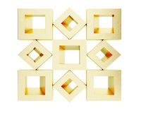 Cubic golden shapes isolated on white background. 3d. Rendering Stock Photo