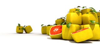 Cubic grapefruit. Piles of cubic grapefruit on a white background Royalty Free Stock Images