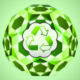 Cubic green layout with recycle sign  Stock Photography