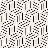 Cubic Grid Tiling Endless Stylish Texture. Vector Seamless Black and White Pattern Stock Image