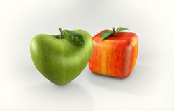 Cubic and heart apples Royalty Free Stock Photos