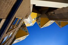 Cubic houses in Rotterdam. Famous Cubic houses in Rotterdam, Netherlands. horizontal shot Royalty Free Stock Photography
