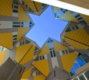 Cubic houses in Rotterdam. Famous modern yellow Cubic houses in Rotterdam, Netherlands Royalty Free Stock Images