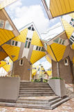 Cubic houses at Rotterdam. Modern Yellow Cubic Houses in Rotterdam, Netherlands Royalty Free Stock Images