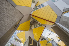 Cubic houses at Rotterdam. Chaotic and Modern Yellow Cubic Houses inter-connection structure (in Dutch Kubus woning) in Rotterdam, Netherlands Royalty Free Stock Photo