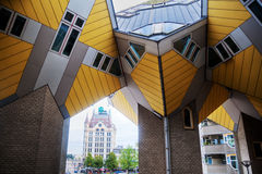 Cubic houses in Rotterdam. Cubic houses designed by architect Piet Blom in Rotterdam, Netherlands Stock Photo