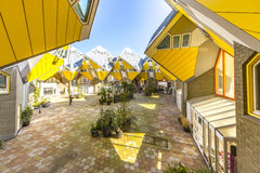 Cubic houses at Rotterdam. Modern Yellow Cubic Houses(in Dutch Kubus woning) in Rotterdam, Netherlands Royalty Free Stock Images