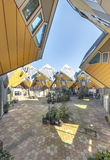 Cubic houses at Rotterdam. Modern Yellow Cubic Houses (in Dutch Kubus woning) in Rotterdam, Netherlands Stock Photos