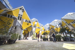 Cubic houses at Rotterdam. Modern Yellow Cubic Houses (in Dutch Kubus woning) in Rotterdam, Netherlands Stock Image