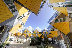Cubic houses at Rotterdam. Modern Yellow Cubic Houses (in Dutch Kubus woning) in Rotterdam, Netherlands Royalty Free Stock Images