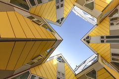 Cubic houses at Rotterdam. Modern Yellow Cubic Houses(in Dutch Kubus woning) in Rotterdam, Netherlands Stock Photos