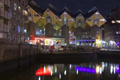 Cubic houses in Rotterdam at night Stock Image