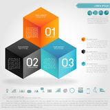 Cubic illusion infographic and business icon. Vector Royalty Free Stock Images