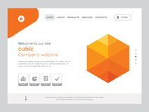 Cubic Landing page website template design. Quality One Page cubic Website Template Vector Eps, Modern Web Design with flat UI elements and landscape Stock Images