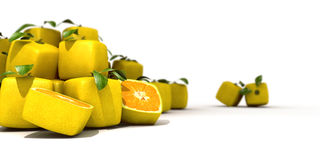 Cubic lemons. On a white background suggesting GMO Stock Photos